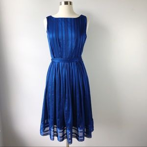 Luxe by Carmen Marc Valvo Blue Striped Dress NWOT